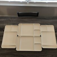 Vintage Tupperware Divided Dining Trays, 1535-4, Set of 4 Beige Color, Camping