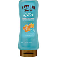 HAWAIIAN TROPIC* 8oz Bottle ISLAND SPORT Sunscreen TROPICAL Ultra-Light SPF15