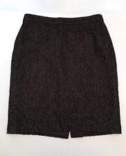 Ann Taylor Brown & Black Tweed Career Pencil Virgin Fine Italian Wool Skirt 10