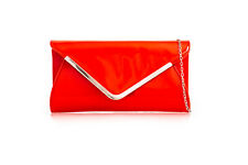 New Womens Faux Leather Plain Envelope Clutch Bags Ladies Wedding Party Evening