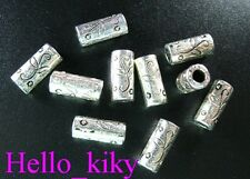 60 Pcs Tibetan silver floral cylinder spacers A266