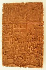 Antique Chinese export Cantonese Boxwood carved Card Case