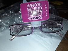 FOSTER GRANT READING GLASSES+2.50 NEW IN PACK