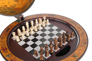 Unique Chess Board w/ Pieces Hidden in Wood Table Top Nautical Old World Globe