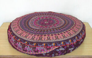 """Indian Pillow Cover Pouf Meditation Cover Cotton 35"""" Large Round Floor Cushion"""