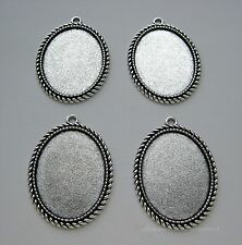 4 new Antiqued Silvertone Rope 40mm x 30mm CAMEO craft FRAME PENDANT SETTINGS