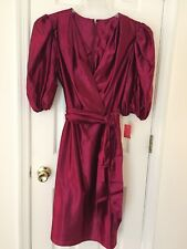 Womens Red Burgundy Holiday Cocktail Short Evening Dress With Long Skirt 16 NWT