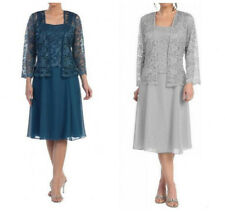 Knee Length Mother of the Bride Groom Dress Plus Size Lace Jacket Formal Gown