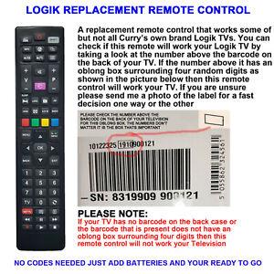 LOGIK TV REMOTE CONTROL A REPLACEMENT WORKS SELECTED LOGIK TV LCD/LED MODELS