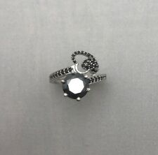 St Silver Engagement Birthday Ring Jewelry 2.2 Ct Black Moissanite Solitaire 925