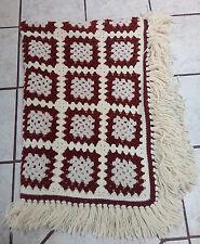"Vintage crochet granny square afghan, colors Cream/Brown/Beige Fringe 53"" x 43"""