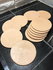 """12 Leather Coasters 3.5"""" Inch Circle Natural Veg Tanned Thick Cowhide 8-10 oz"""
