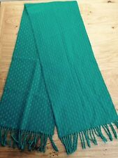 Green Scarf Soft Warm White Pattern Tasseled Ends <L370