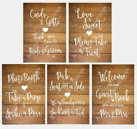 Job Lot (x5) of Light Wood Effect Wedding Signs - Brand New