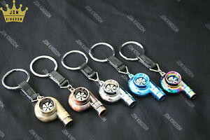 JDM Kingdom Spinning Turbocharger Keychains/Keyrings With Leather Strap Whistle