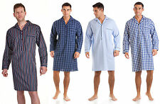 Mens Haigman Lightweight 100 Pure Cotton Nightshirt Nightgown Size M L XL XXL Blue Check 2xl