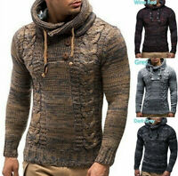 Men Fashion Design Knitted Cotton Pullover Hoodie Long Sleeve Turtleneck Sweater