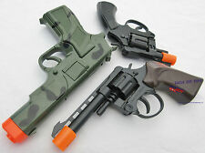 3x Toy Guns Military Detective Camo 9MM Pistol .357 Revolver Cap Guns Set