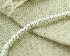 Karen Hill Tribe Silver 95 Plain Rondelle Beads 2.5x1.7mm. 6.5 inches