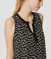 NWT Ann Taylor Loft Black and White Cherry Split Neck Blouse Top. Career. Large.