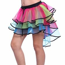 multi coloured rainbow 7 layer flamingo style tutu neno rave dance skirt costume