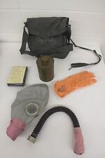 Vintage WWII Era(?) Full Face Gas Mask w/Canister Filter Gloves Bag & Cape