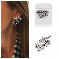 Women Fashion Cuff  Elegant Crystal Rhinestone Ear Stud Clip Earrings Jewelry