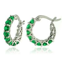 """Pave Emerald Green Inside Outside Hoop Earring with Crystals 0.86"""" ITALIAN MADE"""