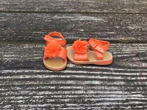 Gymboree Cute on the Coast Girls Orange Patent Flower Sandals Size 4