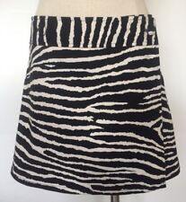 Ideology Mini Wrap Skirt Zebra Print Black Beige A-Line Buttons Women's Size 2