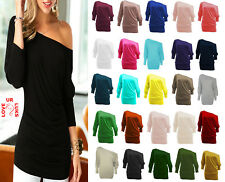 WOMENS BATWING TOP JUMPER BAGGY SKEW NECK LADIES LONG SLEEVE PLAIN SHIRT JERSEY