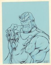 Thanos with Infinity Gauntlet Commission on Blue Paper Signed art by Juan Carlos