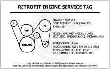 2002 LS1 5.7L Trans Am Retrofit Engine Service Tag Belt Routing Diagram Decal