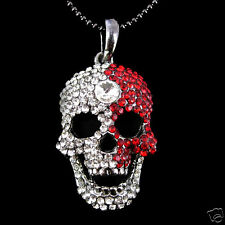 Twinkling Full Crystal Red White Skull Czech Crystal Necklace