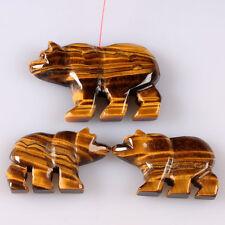 g0750 Carved  golden tiger eye bear pendant beads set