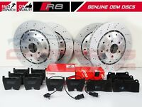 FOR AUDI R8 FRONT REAR DRILLED 2 PIECE OEM BRAKE DISCS PREMIUM PADS 365/356mm