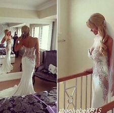 Corset Shiny Sheer Mermaid Wedding Dresses Sexy Lace Bridal Gowns Custom made