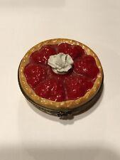Eximious Limoges France Peint Main Strawberry Pie Trinket Box