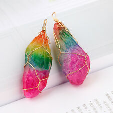 Colorful Raw Quartz Necklace dipped gold Crystal Pendant Gemstone Stone new