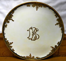 "Large Antique Porcelain Hand Painted Charger / Tray - T&V Limoges - 18"" - Monogr"
