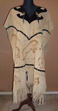 Vintage Unisex Tan Suede Horse Burnt Print Concho Stud Fringed Poncho Jacket