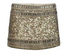 All Saints 215 £ Devo gold jupe lourdement décorées UK 6/USA 2 Viper Python