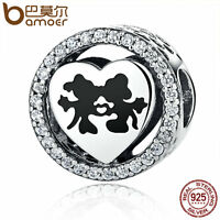 Bamoer Fine European S925 Sterling Silver LOVE Charm With Clear CZ Fit Bracelets