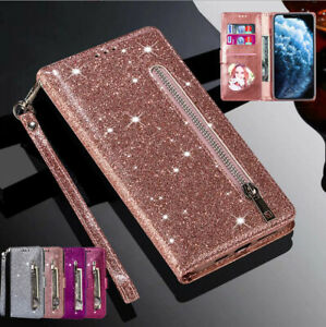 Glitter Case For iPhone 13 12 Pro Max XS XR SE 8 7 6s Leather Flip Wallet Cover