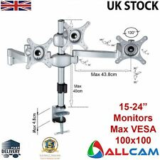 MDM06 Triple Three Monitor Arm Desk Stand Mount w/ Adjustable Height & Brackets