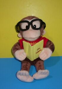 """13"""" Gund CURIOUS GEORGE plush Doll Reading Still Curious Book Wearing glasses"""