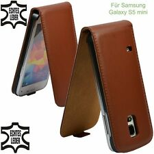 Flip Case Samsung Galaxy S5 Mini Real Leather Brown Case Cover Pouch Pouch