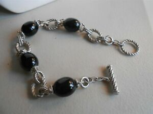 GREAT JUDITH RIPKA BLACK ONYX & STERLING TOGGLE BRACELET