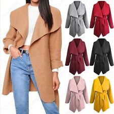 LADIES WATERFALL BORG SHEARLING TEDDY DRAPED FRONT BELTED WINTER COAT JACKET