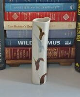 "Studio Art Pottery Brown & Blue Tall Square Wrapped 8"" Bud Vase Artist Signed"
